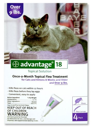 Advantage Once-A-Month Topical Flea Treatment for Cats Over 9 Lbs (4 Applications), My Pet Supplies