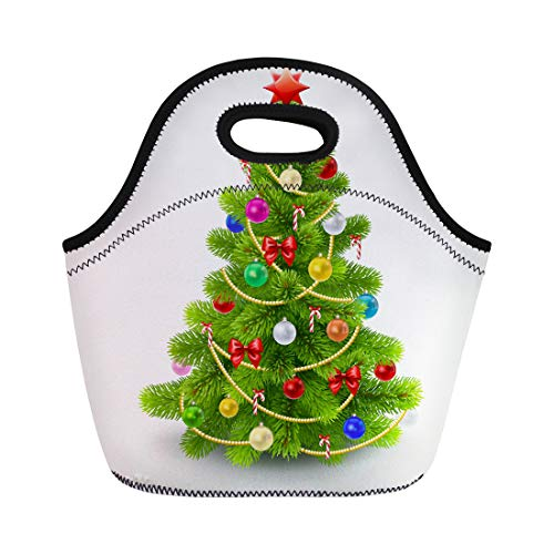Semtomn Lunch Bags Ribbon Green Realistic Christmas Fir Tree 10 Branch Toy Neoprene Lunch Bag Lunchbox Tote Bag Portable Picnic Bag Cooler Bag
