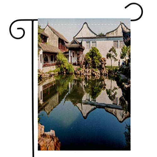 (BEIVIVI Custom Double Sided Seasonal Garden Flag Master of Nets Garden Wang Shi Yuan Suzhou China Welcome House Flag for Patio Lawn Outdoor Home Decor)