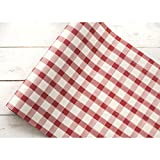 Hester and Cook Disposable Red/White Painted Check Paper Runner - 25'L x 30'' W