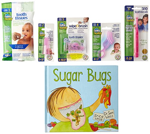 Baby Buddy Infant Oral Care 5pc Pink Gift Set & Sugar Bugs Childrens Oral Care Book Innovative 6-Stage Oral Care System Grows with Your Child