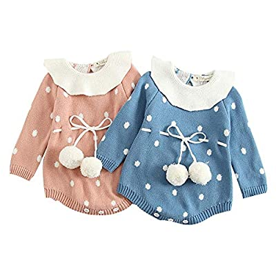 Baby Boy Girl Soft Lovely Dot Knit Romper Bodysuit Long Sleeve Lotus Leaf Collar Outfits Clothes