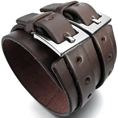 INBLUE Mens Alloy Genuine Leather Bracelet Bangle Cuff Silver Tone Black Brown Cord Adjustable