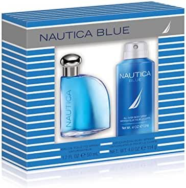 Nautica Blue 2 Piece Gift Set (1.7 Ounce Plus 4.0 Ounce Body Spray)