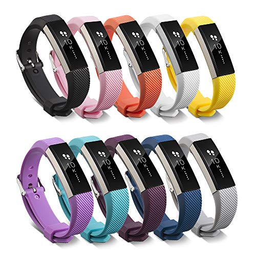 for Fitbit ACE Bands Kids, Replacement Accessory Soft Silicone Band 4.5''-6'' Size for Fitbit ACE Activity Tracker for Kids 8+ Wristbands Available in 10 Colors with Metal Clasp and Fastener (10pcs) ()