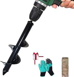 """HuiChuang Technology 3"""" x 12"""" Garden Auger Drill Bit, Hand-Held Bulb Planter Tool, Garden Spiral Hole Drill Planter, Auger Post Hole Digger for Planting (3″ Diameter,12″ Length)(8x30cm)"""