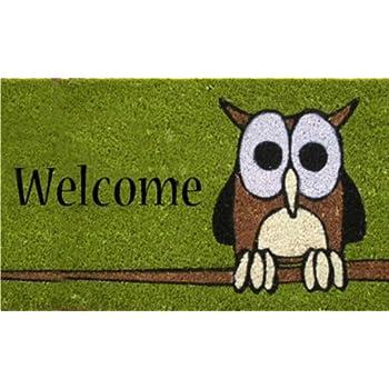 Amazon Com Wise Owl Hand Made Coir Doormat 18 Quot X 30