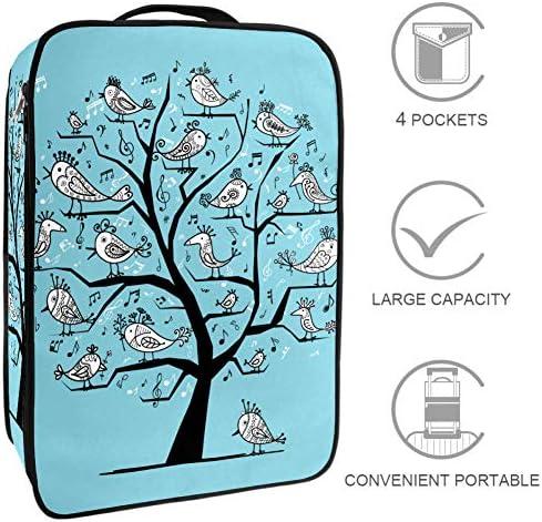 MYSTAGE シューズケース 靴入れ シューズバッグ シューズ袋 収納ポーチ 靴箱 履き替え 小物収納 取り付け 多機能 収納ケース 歌う 鳥 面白い 木