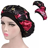 BORUD Sleeping Cap for Women, Satin Night Cap Comfortable Floral Satin Salon Bonnet Cap for Sleep, Hair Loss, Hair Protection (2PCS)