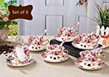 NDHT Set of 6 Bone China Ceramic Tea Cup Coffee Cup Set Coffee Cup with Saucer,Small Flower,White and Red,with a gift box