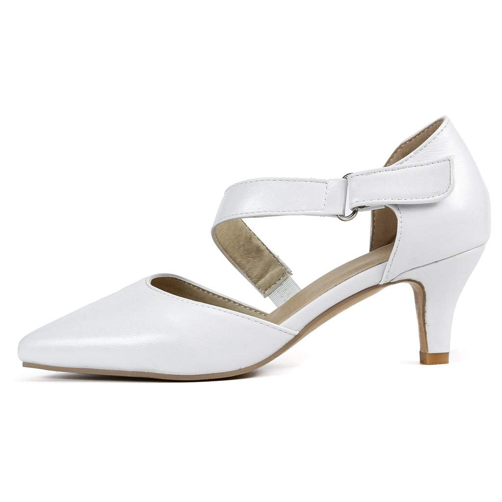 Sharemen Womens Classic Low Mid Heels Shoes- Pointed, Closed Toe Low, Kitten Heel Pumps(White,US: 7) by Sharemen Shoes (Image #4)