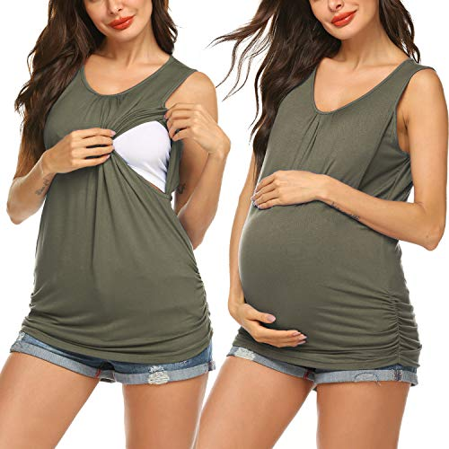 (Romanstii Women's Round Neck Ruched Pregnant Maternity Top Tank Army Green S)