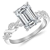 0.63 CTW Twisting Infinity Gold and Diamond Split Shank Pave Set Diamond Engagement Ring w/ 0.5 Ct Emerald Cut H Color SI1 Clarity Center
