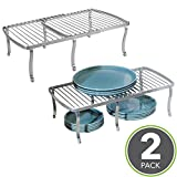 freestanding kitchen - mDesign Free Standing Expandable Storage Shelf for Kitchen Countertop, Pantry, Cabinet - Pack of 2, Chrome/Silver