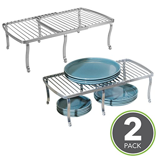 mDesign Adjustable, Expandable Kitchen Cabinet, Pantry, Countertop Organizer Storage Shelves - for Dishes, Dinnerware, Cookware, Spices, Canned Food, Tea Tins - Durable Steel, Pack of 2, Silver