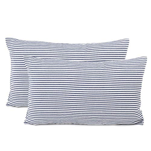 COMHO Pack of 2, Cotton Woven Striped Lumbar Throw Pillow Covers Set, Nautical Decorative Cushion Covers, Farmhouse Pillowcases, for Sofa Bedroom Car Chair 12x20 Inch/30x50 cm (Navy Blue)