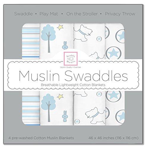 SwaddleDesigns Cotton Muslin Swaddle Blankets, Set of 4, Blue Forest