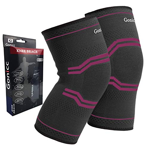 (gonicc Professional Compression Knee Sleeve Pair(2 Pcs, Rose, Large), Breathable, Braces and Supports Knee for Pain Relief, Meniscus Tear, Arthritis, Injury, Running, Joint Pain.)