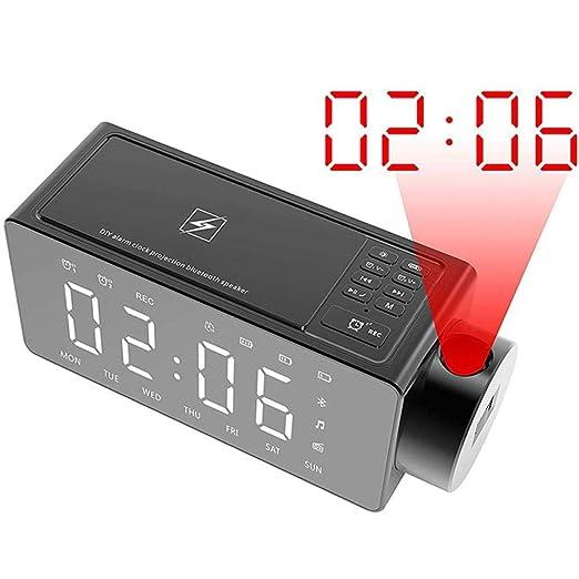 FPRW Reloj Despertador de proyección, Reloj con Altavoz Bluetooth con Carga inalámbrica, Tono de Llamada DIY Llamada con Bluetooth con un Solo Clic ...
