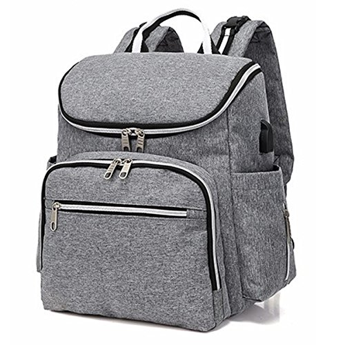 Baby Diaper Bag Backpack Maternity Bag Nappy Backpack Multifunction Traveling Portable Bag Pack (Grey) by Cozyonme