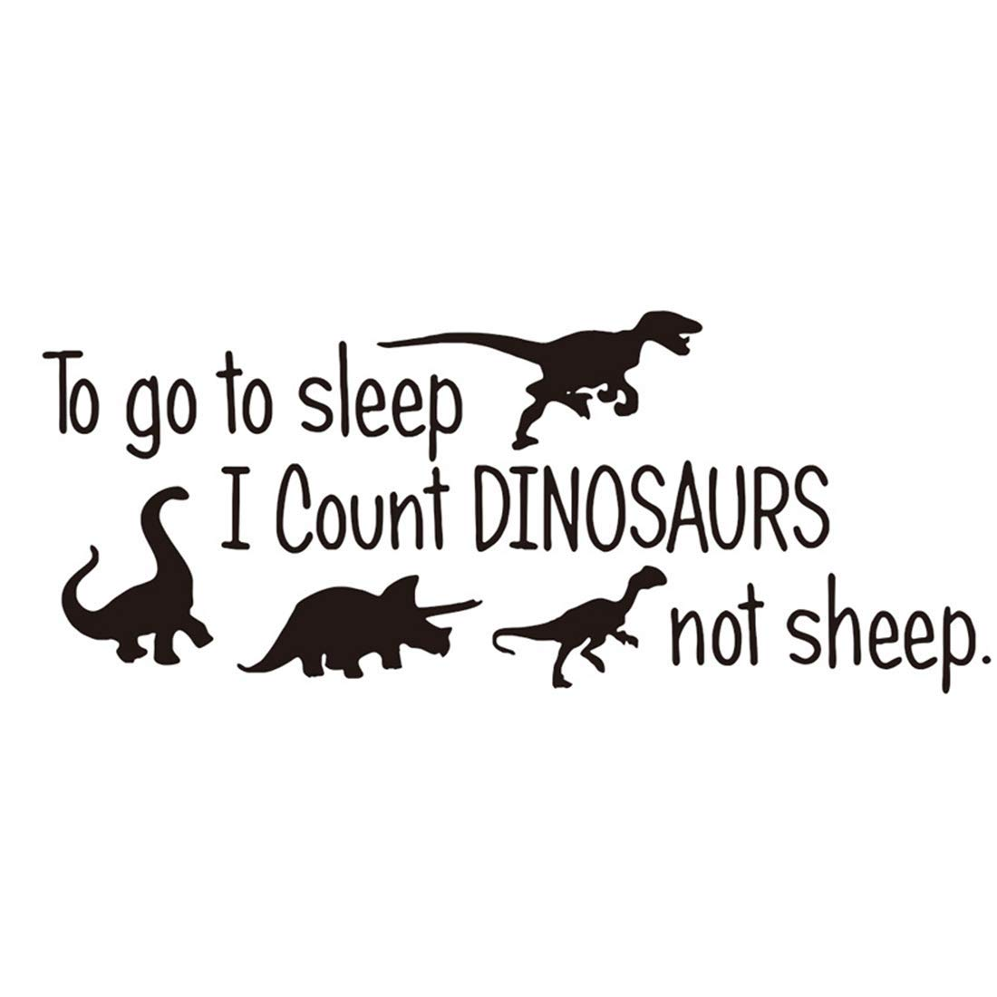 to Go to Sleep I Count Dinosaur Not Sheep Vinyl Wall Decals Cute Dinosaurs Bedroom Wall Sticker Wall Decals Kids Room Nursery Room Removable Peel & Stick Cartoon Wall Art Home Decor Stickers Poster