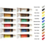 Acrylic paint Set 12 By Crafts 4 All For Paper,canvas,wood,ceramic,fabric & crafts.Non toxic & Vibrant colors. Rich Pigments With Lasting Quality - For Beginners, Students. 3 FREE BRUSHES