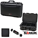 Nanuk 935 Hard Case with Padded Divider (Black) 935-2001, Polaroid Memory Card Wallet, and Ritz Gear Card Reader Writer