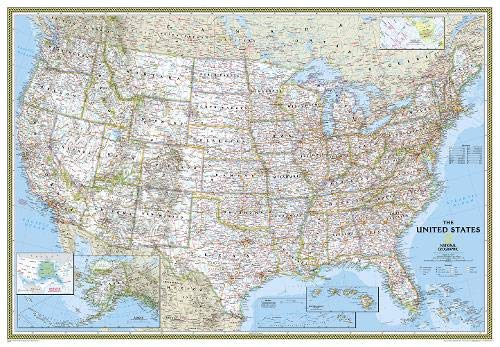 National Geographic: United States Classic Enlarged Wall Map (69.25 x 48 inches) (National Geographic Reference Map) (United Board Foam States Map)