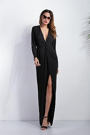Riogo - Vestido - camisa - manga 3/4 - para mujer negro negro 44: Amazon.es: Ropa y accesorios