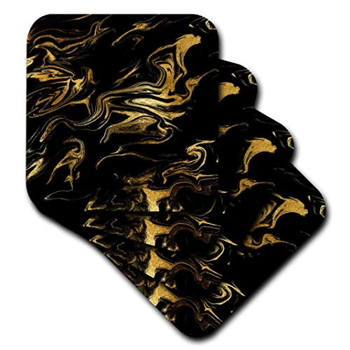 - 3dRose cst_275232_3 Image of Chic Trendy Gold Glitter Veins on Black Marble Agate Gemstone Ceramic Tile Coasters, set-of-4-Ceramic,