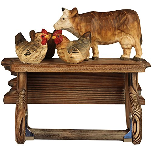 "Comfy Hour 7"" Hand Carved Wooden Farm Animals Chicken Cow Wall Hung Tissue Holder, Countryside/Rustic Style, Rural Theme"