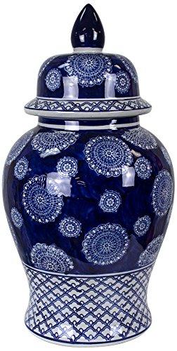 Champlin Blue and White Ceramic Ginger Jar Vase