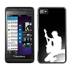 // PHONE CASE GIFT // Duro Estuche protector PC Cáscara Plástico Carcasa Funda Hard Protective Case for Blackberry Z10 / Guitar Silhouette /