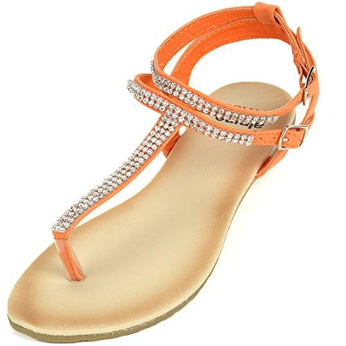 alpine swiss Womens Orange Slingback T-Strap Rhinestone Thong Sandals 7 M ()