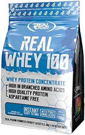 Real Pharm Whey 100 Eiweiß Protein WPC - 700g + Gratis Produktprobe! (Keks)
