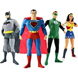 "Justice League, includes wonder woman, Superman, batman, and The Green Lantern, bendable figures, actual size, over 7"" tall, outstanding window box gift packaging."