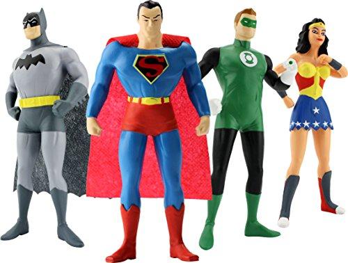 Justice League Bendable Figure, Includes Wonder Woman, Superman, Batman, and The Green Lantern, Bendable Figures, Actual Size, Over 7