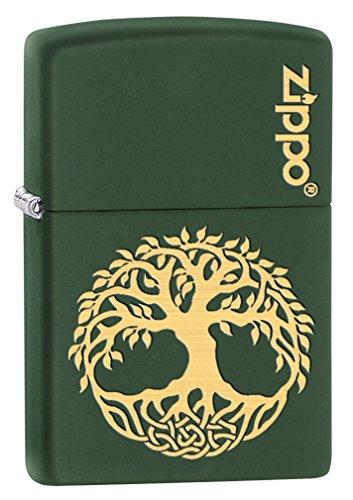 Zippo Lighter: Engraved Tree of Life - Green Matte 79509