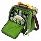 Picnic Time Solano Insulated Cooler Picnic Tote, Pine Green/Brown