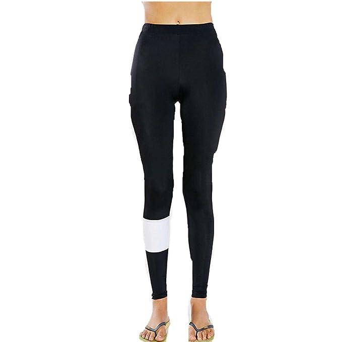 HARRYSTORE Mujer Pantalones elásticos de yoga Señora costura y rayas ...