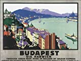 BUDAPEST VIEW CHAIN BRIDGE DANUBE RIVER HUNGARY TRAVEL VINTAGE POSTER REPRO