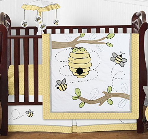 Honey Bumble Bee Hive Yellow, Gray and White Unisex 4 Piece Baby Girl or Boy Crib Bedding Set Without Bumper