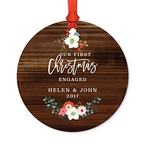 Andaz Press Personalized Wedding Engagement Metal Christmas Ornament, Our First Christmas Engaged, Helen & John 2019, Rustic Wood Florals, 1-Pack, Includes Ribbon and Gift Bag, Custom Name ()