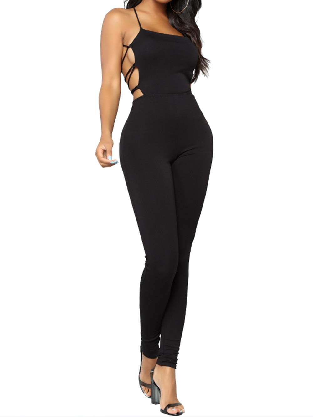 Yizenge Sexy Bodycon Jumpsuits for Women Spaghetti Strap Backless Jumpsuit Rompers (Medium,Black)