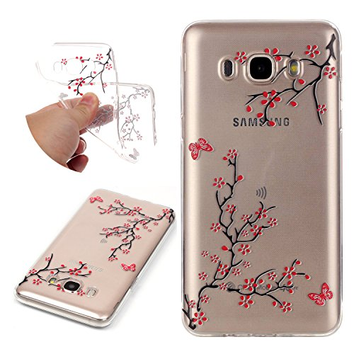 Tree Duo (Galaxy J5 2016 Case TPU Silicone Transparent Ultra Thin Design Soft Back Cover with Embossed Pattern Plum Tree For Samsung Galaxy J510 J5 2016 Edition J5 6 J5 Duos (NOT)