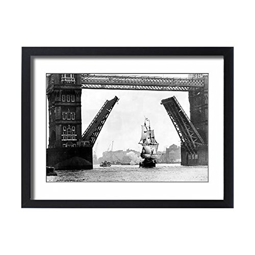 Media Storehouse Framed 24x18 Print of The Golden Hind at Tower Bridge (Golden Hind Replica)