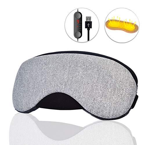 Dr. Prepare Eye Mask, USB Heated Eye Mask Warm Eye Compress Electric Steam Heating Pad with Earpulgs for Sleeping, Dry Eyes, Puffy Eyes, Dark Cycles and Tired Eyes