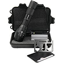 Portable Tactical LED Flashlight with Cree T6 1000 Lumens 5 Light Modes,Ultra Bright Pocket Torch for Hiking,Camping,Fishing-Free Survival Credit Card Tool