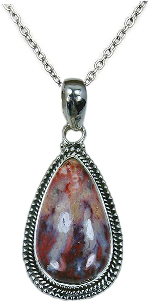 Crazy Lace Agate /& Sterling Silver Pendant Necklace