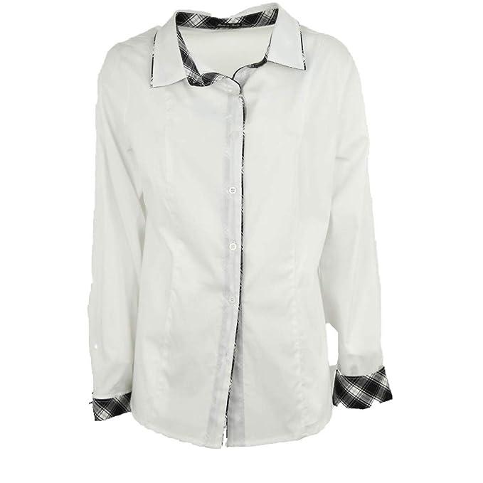 5ee03f8b5e pratino Camicia Donna Classica XXL Bianco Rifiniture Scozzese ...